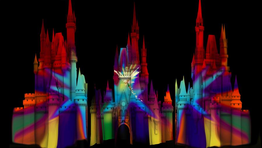 luzes no castelo da Cinderela